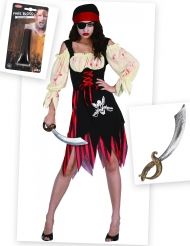 Set costume pirata zombie con accessori Halloween