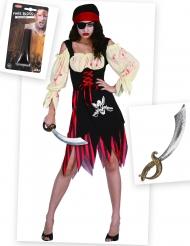 Set costume pirata zombie con accessori Halloween