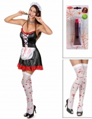 Set costume cameriera zombie con accessori halloween