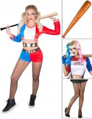 Set costume da arlecchino psicopatico con accessori Halloween