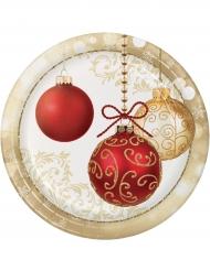 8 Piatti in cartone Palle di Natale 23 cm