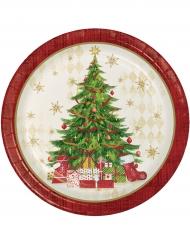 8 Piatti in cartone con albero di Natale 22 cm