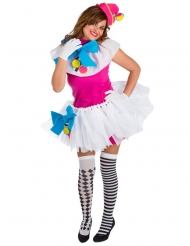 Costume da clown colorato con pompom per donna