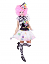 Costume clown multicolore donna