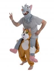 Costume carry Me gatto che porta sulle spalle un topo
