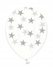 6 Palloncini in Lattice trasparente con stelle argentate