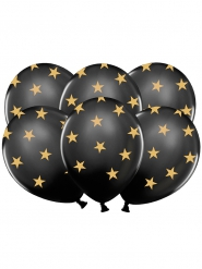 6 Palloncini in Lattice neri con stelle dorate