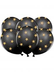 6 Palloncini in Lattice neri con stelle dorate