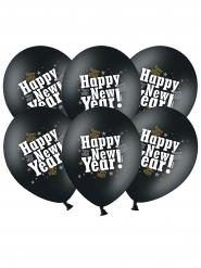 6 Palloncini in lattice nero Happy new year