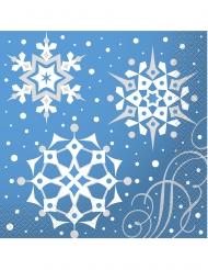 16 tovaglioli di carta azzurri con fiocchi di neve 33 cm x 33 cm