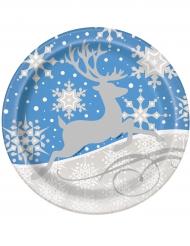 8 Piatti neve e renna di natale 23 cm