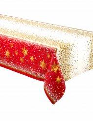 Tovaglia in plastica rossa e dorata per Natale 137 x 213 cm