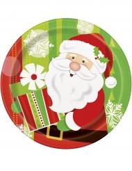8 piatti di carta Babbo Natale diametro 23 cm