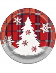 8 Piatti in Cartone Chalet di Natale 18 cm