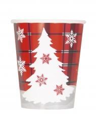 8 bicchieri in cartone Chalet di Natale 270 ml
