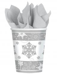 8 Bicchieri di carta Fiocco di neve