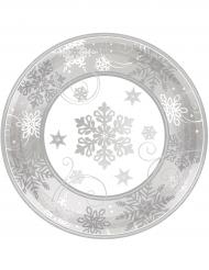 8 Piattini di carta Fiocco di neve 18 cm