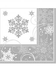 16 Tovagliolini di carta fiocco di neve 33x33 cm