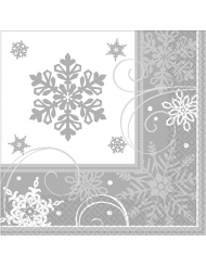 16 Tovagliolini di carta fiocco di neve
