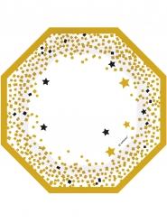 6 piatti ortogonali bianchi a stelle nere e dorate diametro 18 cm