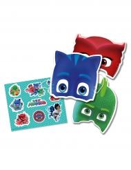 6 Maschere e 6 adesivi PJ Mask™ bambino