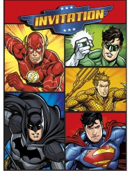8 Bigliettini invito compleanno tema justice league
