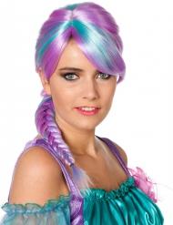 Parrucca lilla e turchese  a treccia per donna