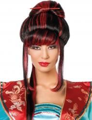Parrucca donna cinese nera e rossa