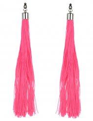 Orecchini con frange rosa fluo!