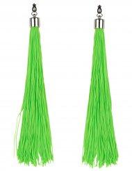 Orecchini frange verde fosforescente adulto