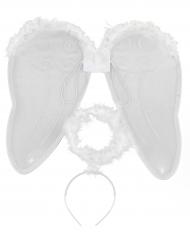 Kit angelo bianco con ali e aureola adulto