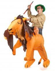 Costume avventuriero su leone gonfiabile per adulto