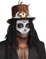 Cappello a cilindro voodoo con capelli per adulto