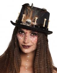 Cappello a cilindro voodoo nero per adulto