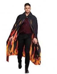 Mantello nero con fiamme adulto halloween