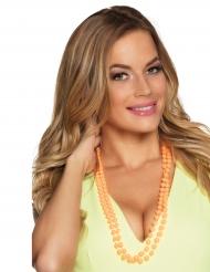 2 Collane di perle arancione per adulto