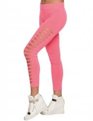 Legging rosa  con taglie sui lati.