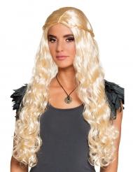 Parrucca lunga bionda con trecce piccole per donna