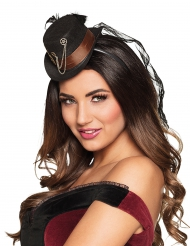 Mini cappello a cilindro con ingranaggi steampunk per donna