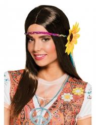 Parrucca lunga castana con fascia girasole per donna