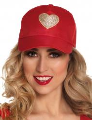 Cappellino rosso con cuore dorato per adulto