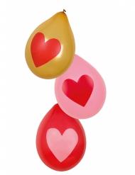 6 Palloncini con cuore Love You 25 cm