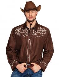 Camicia da cowboy marrone per adulto