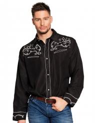 Camicia da cowboy nera per adulto