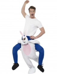 Costume carry me uomo sulle spalle di un coniglio per adulto