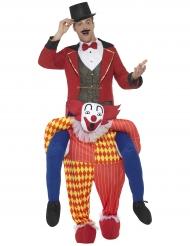 Costume uomo sulle spalle di un clown carry me per adulto