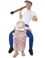 Costume uomo sulle spalle di nonna carry me per adulto
