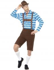 Costume bavarese blu e marrone per adulto