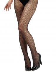 Calze a rete nere con brillantini per donna