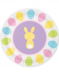 8 Piatti piccoli in cartone con coniglietti 18 cm
